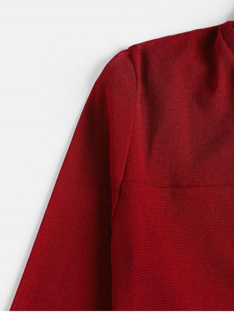 T-shirt Maigre en Maille Transparente à Col Roulé - Rouge Vineux L Mobile