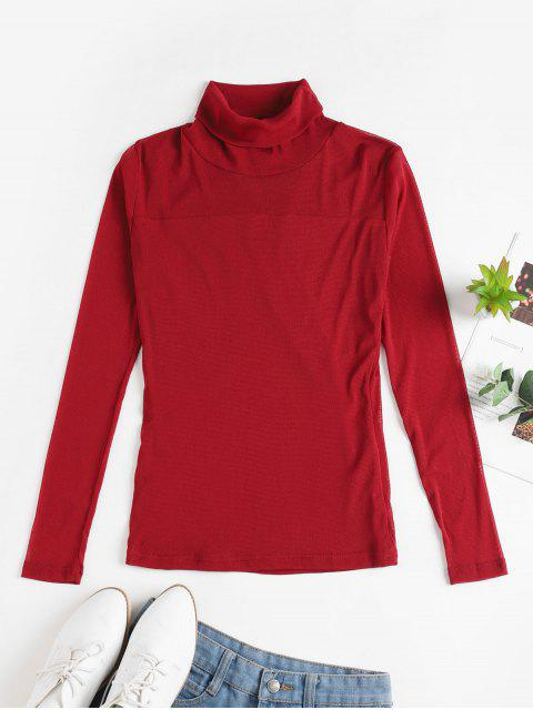 lady Mesh See Thru Turtleneck Slim Tee - RED WINE XL Mobile