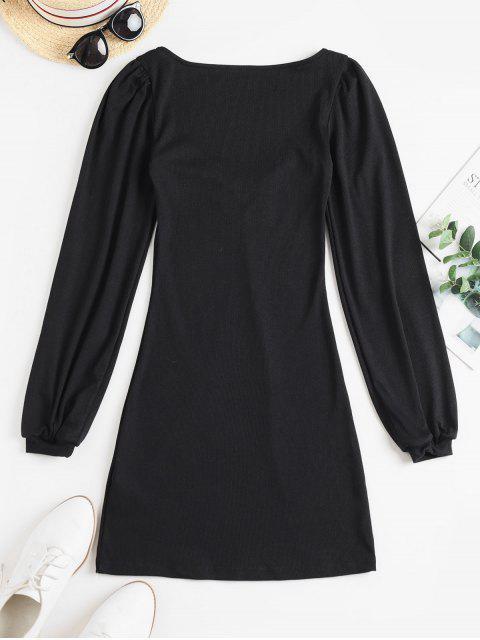羅紋甜心領長袖連衣裙 - 黑色 S Mobile