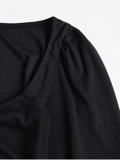 羅紋甜心領長袖連衣裙 - 黑色 M Mobile