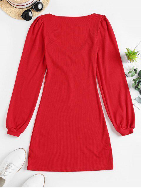 羅紋甜心領長袖連衣裙 - 紅 S Mobile