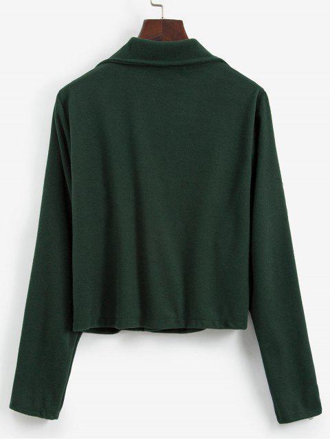 Schafwolle Umlegekragen Jacke mit Reißverschluss - Dunkelgrün M Mobile