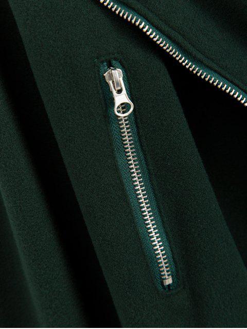 Vlies Detail Reißverschluss Umlegekragen Jacke - Dunkelgrün XL Mobile