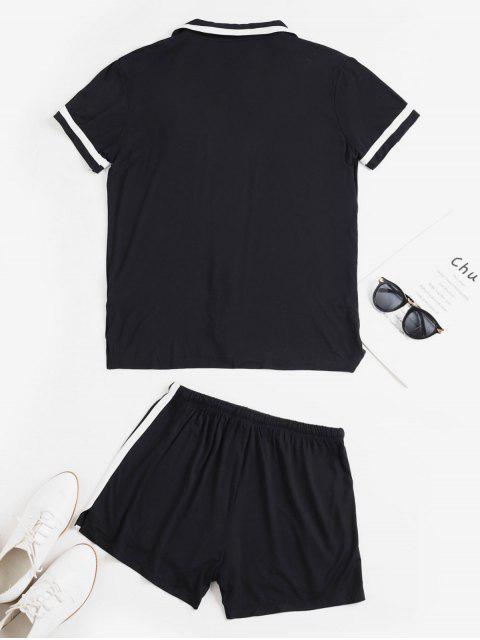 Revers Tasche Knopf Schlitz Shorts Set - Schwarz XL  Mobile