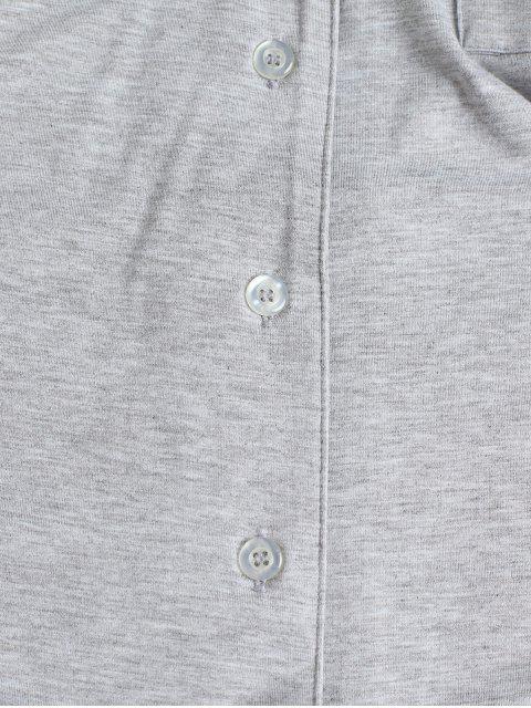 翻領口袋按鈕向上縫抽繩短褲套裝 - 灰色 XL Mobile