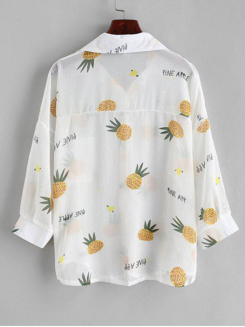 affordable Button Down See Thru Pineapple Cover Up Top - WHITE ONE SIZE Mobile