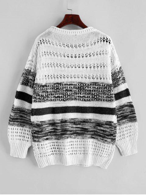 Kontrast Öffnen Knit Crew Neck Sweater - Schwarz XL Mobile
