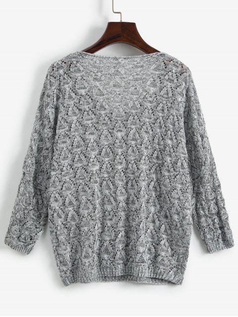 混紡紗線蝙蝠袖針織衫開放 - 淺灰 One Size Mobile