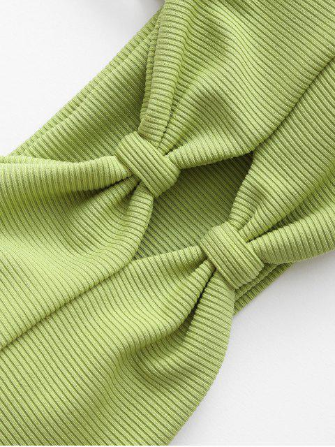 ZAFUL羅紋針織高切比基尼泳裝 - 開心果綠色 S Mobile