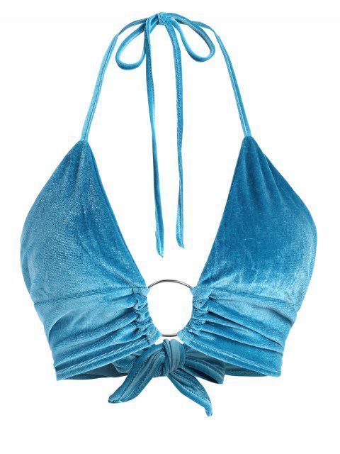 shop Tie Back O Ring Velvet Bralette - SILK BLUE M Mobile