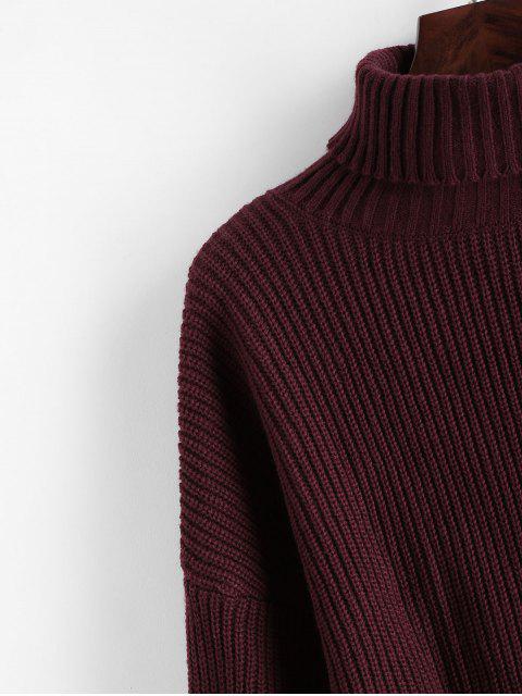 new ZAFUL Turtleneck Lantern Sleeve Cropped Sweater - RED WINE M Mobile