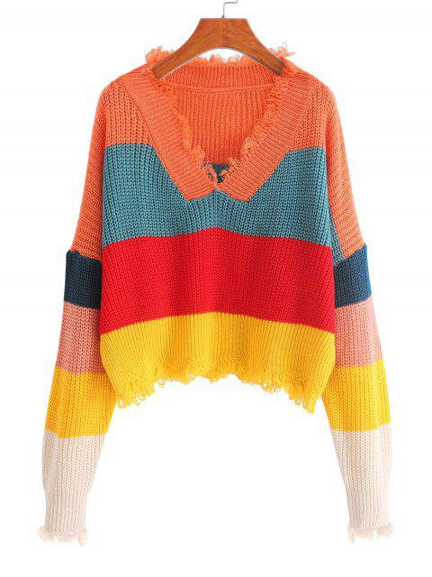 fashion ZAFUL Color-blocking Sharkbite Trim Frayed Drop Shoulder Sweater - MULTI ONE SIZE Mobile