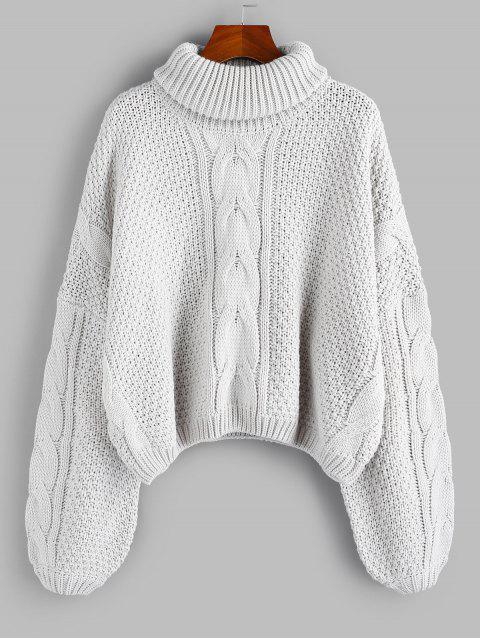 women's ZAFUL X Luna Montana Drop Shoulder Cable Knit Turtleneck Sweater - GRAY GOOSE S Mobile