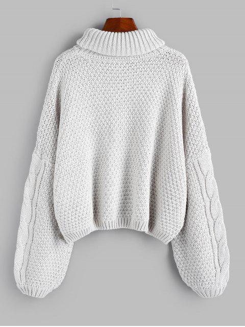 ladies ZAFUL X Luna Montana Drop Shoulder Cable Knit Turtleneck Sweater - GRAY GOOSE M Mobile