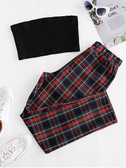 outfit Solid Strapless Top and Plaid Pants Set - MULTI-B S Mobile