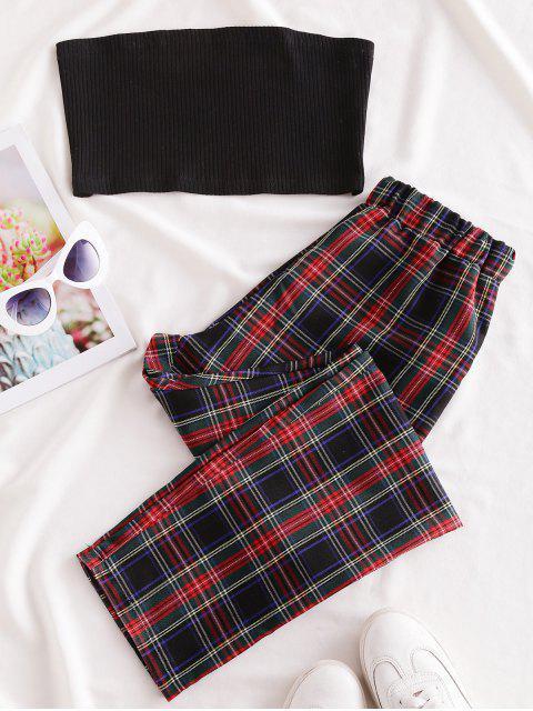 JuegodeCamisetaSinTirantes de Color SólidoyPantalonesaCuadros - Multicolor-B XL Mobile