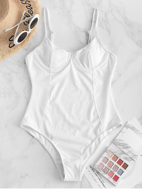 ZAFUL鋼圈羅紋縫公主連體泳衣 - 白色 S Mobile