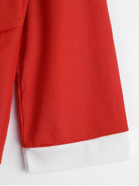 outfit Ribbed Twisted Raw Cut Sweater - BEAN RED M Mobile