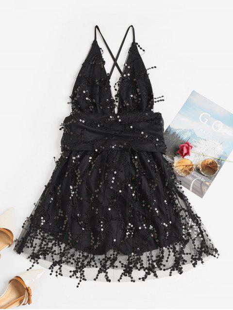 hot Sparkly Sequined Plunging Crisscross Mini Dress - BLACK M Mobile