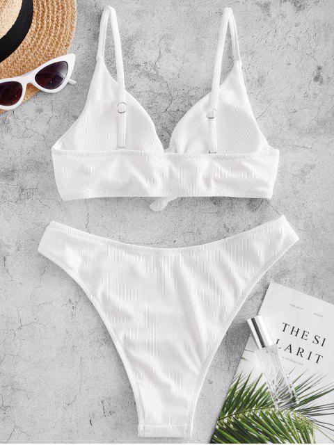 outfits ZAFUL Knot Side Boning Ribbed Bikini Swimsuit - WHITE L Mobile