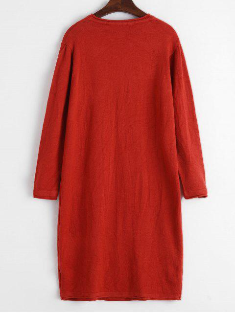 online Solid Long Sweater - BEAN RED ONE SIZE Mobile