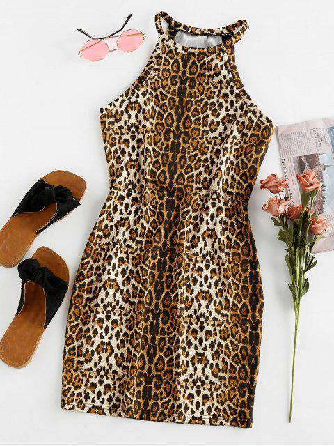 ZAFUL Vestido Ceñido con Estampado de Animal de Leopardo - Multicolor M Mobile