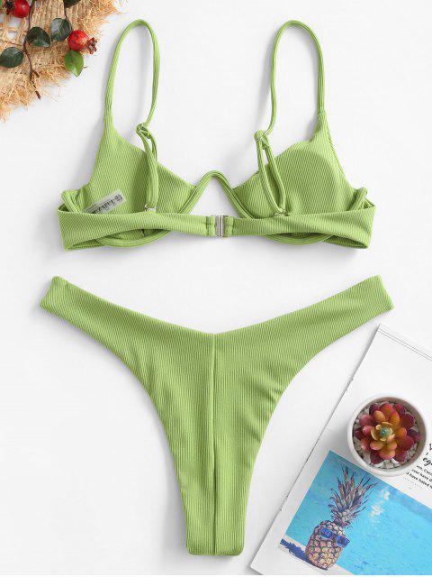 ZAFUL Bikini Acanalado de Corte Alto con Aros - Verde de Pistacho L Mobile