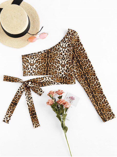 fashion ZAFUL Leopard One Shoulder Knot Crop Tee - MULTI M Mobile