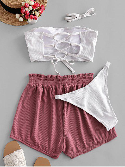 ladies ZAFUL Ribbed Lace-up Bandeau Three Piece Swimsuit - WHITE M Mobile