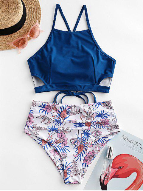 outfit ZAFUL Cutout Lace-up Ruched Floral Tankini Swimsuit - LAPIS BLUE M Mobile