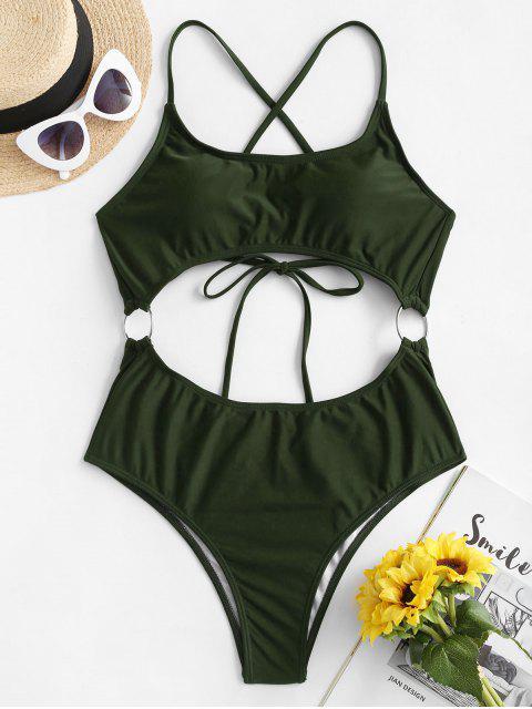 latest ZAFUL O Ring Criss Cross Monokini Swimsuit - DARK FOREST GREEN S Mobile