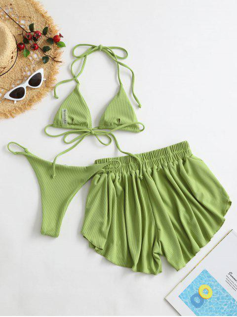 affordable ZAFUL Ribbed Three Piece Halter Tie Bikini Swimsuit - PISTACHIO GREEN S Mobile