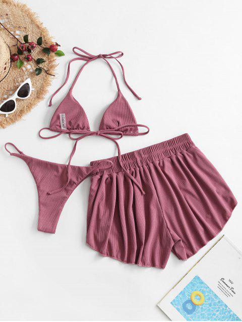 chic ZAFUL Ribbed Three Piece Halter Tie Bikini Swimsuit - PALE VIOLET RED M Mobile