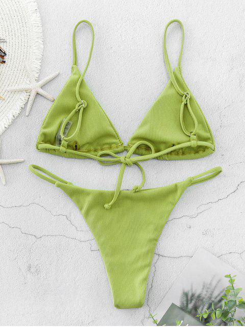 ZAFUL Maillot de Bain Bikini Côtelé à Bretelle - Vert Pistache S Mobile