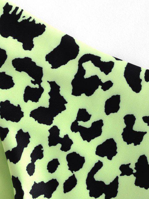 fashion ZAFUL Reversible Snake Print High Cut Bikini Bottom - TEA GREEN M Mobile