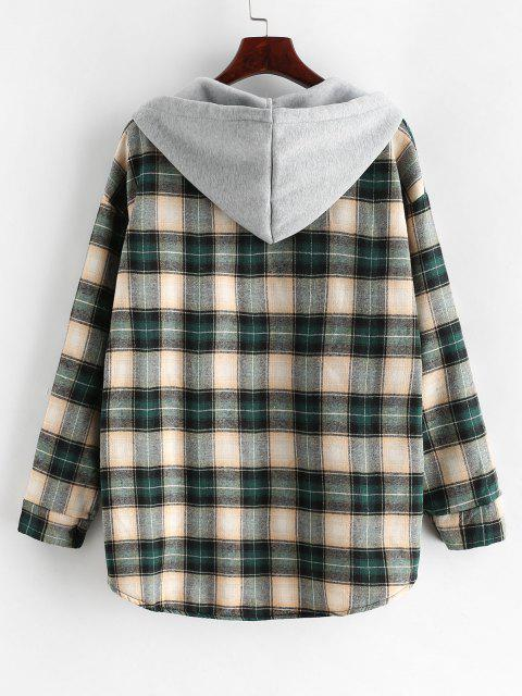 women Plaid Buttoned Curved Hem Hooded Coat - MULTI-C M Mobile