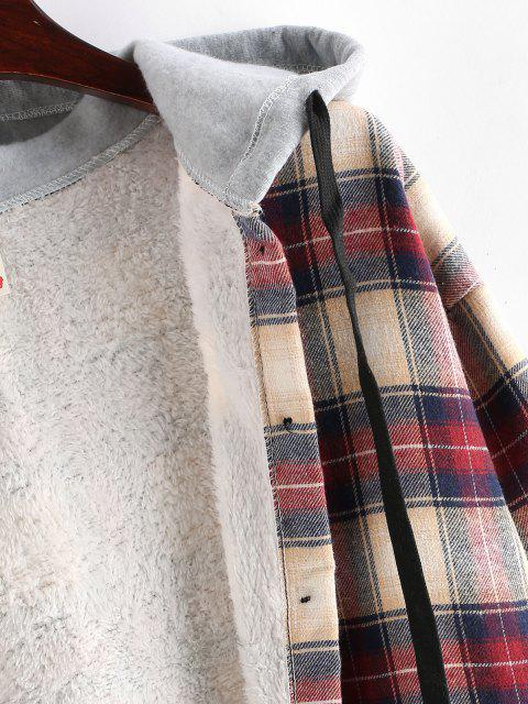 fancy Plaid Buttoned Curved Hem Hooded Coat - MULTI-A L Mobile