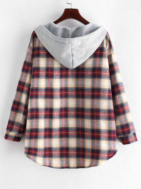 chic Plaid Buttoned Curved Hem Hooded Coat - MULTI-A M Mobile