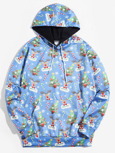 Moletom Com Capuz De Natal Estampa De árvore - Azul 4xl