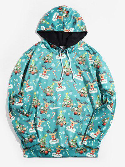 Christmas Tree Animal Printed Hoodie - Macaw Blue Green 2xl
