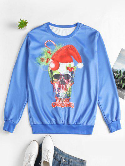 Christmas Skull Letter Printed Sweatshirt - Blue 2xl