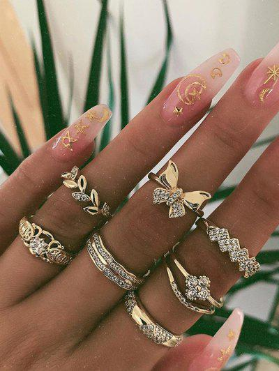 7Pcs Rhinestone Round Finger Rings - Gold