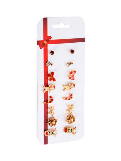 Christmas Pattern Stud Earrings Set - Gold
