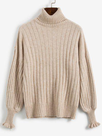 Maglione Sciolto Con Collo Alto - Cachi