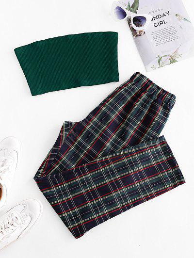 Solid Strapless Top And Plaid Pants Set - Multi Xl