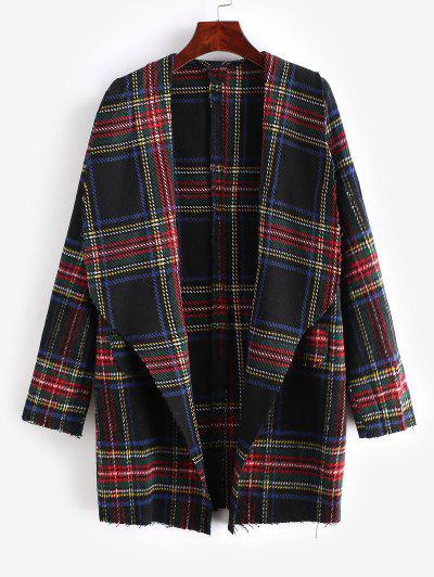 Plaid Shawl Collar Tunic Coat - Red Wine M