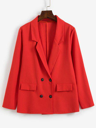 Notch Lapel Double Breasted Work Blazer - Red M