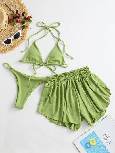 ZAFUL Ribbed Three Piece Halter Tie Bikini Swimsuit - Pistachio Green S