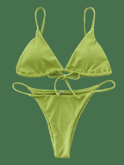 ZAFUL Ribbed Cami String Bikini Swimsuit