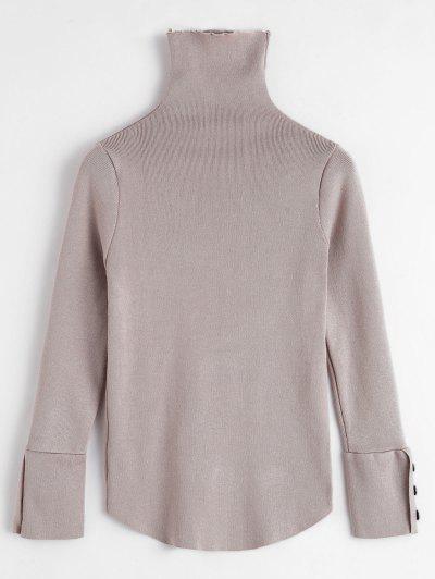 Buttoned Cuffs Turtleneck Sweater - Tan